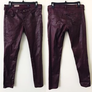 AG Red Wax Coated The Legging Super Skinny Jeans